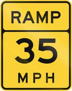 Ramp - Advised Speed 35 MPH - stock illustration