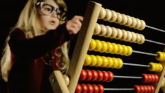 Abacus play count little girl copyspace Stock Footage