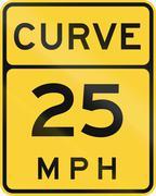 Curve - Advised Speed 25 MPH - stock illustration