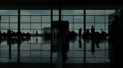 Airport Terminal Hall Silhouette Walking Travelers Wide Shot 4K Stock Footage