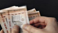 Counting Old Belarusian Rubles (BYR) Stock Footage