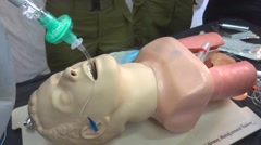 medical intubation training doll - stock footage
