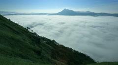 Fog at Lake Mashu Caldera, Hokkaido, Japan Stock Footage
