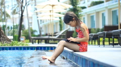 Little girl using tablet computer - stock footage