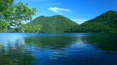 Lake and mountainscape in Hokkaido, Japan Stock Footage