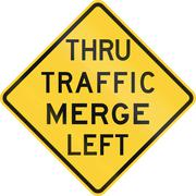 Thru Traffic Merge Left - stock illustration