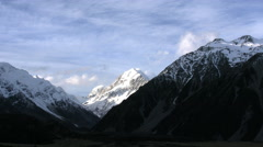 New Zealand Mt Cook zoom in to pyramid pointed summit Stock Footage