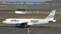 JetBlue Airlines 15th anniversary plane, Bluemanity Stock Footage