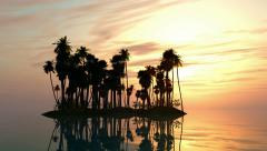 Sea sunset with island and palm trees - stock footage