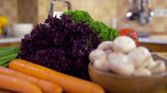Fresh vegetables on the table dolly shot Arkistovideo