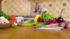 Fresh vegetables on the table dolly shot Stock Footage