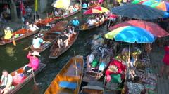 Damnoen Saduak Floating Market, Thailand Stock Footage