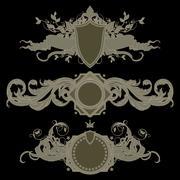 set of heraldic shields - stock illustration
