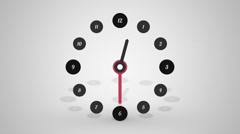 Simple clock half a day with shadow Stock Footage