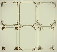 Stock Illustration of set of simple decorative frames