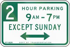 Two Hour Parking Except Sunday - stock illustration