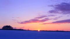 Snow field at dawn, Hokkaido, Japan Stock Footage