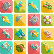 Summer vacation icons flat diagonal slanted Stock Illustration