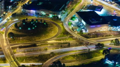 4k timelapse video of traffic on highway at night Stock Footage