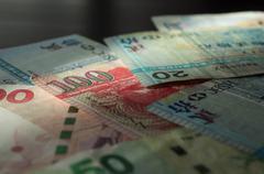Stock Photo of Some old banknotes of Hong Kong dollars