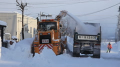 Snow plough working, Hokkaido, Japan Stock Footage