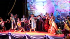 A traditional dance by students at Songkran,Ubon Ratchathani,Thailand Stock Footage