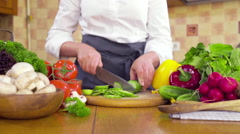 Chef cooking a vegetable salad slow motion Arkistovideo
