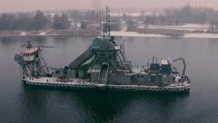 Dredger in winter - stock footage