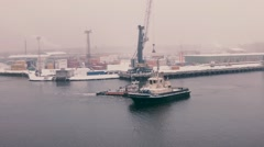 Tug boats in winter Stock Footage