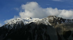 New Zealand Mt Cook cloud rolls over summit ridge time lapse Stock Footage