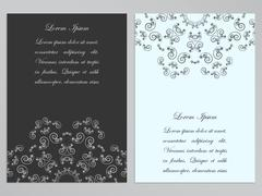 Black and white flyers with ornate floral pattern Stock Illustration