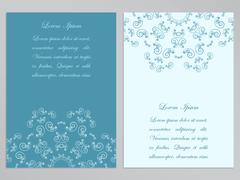 Blue and white flyers with ornate floral pattern - stock illustration