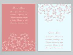Pink and white flyers with ornate floral pattern - stock illustration