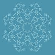 Ornate flower pattern on blue background - stock illustration