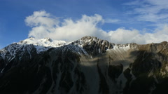 New Zealand Mt Cook cloud shadows cast on peak time lapse Stock Footage