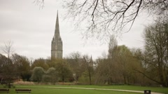 Stock Video Footage of Salisbury Cathedral and Elizabeth Gardens