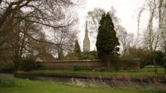 Stock Video Footage of Salisbury Cathedral (Elizabeth Gardens)