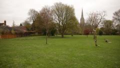 Salisbury Cathedral ( pan Elizabeth Gardens) Stock Footage
