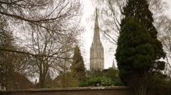 Salisbury Cathedral (Elizabeth Gardens) Stock Footage