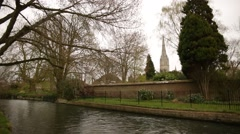 Salisbury Cathedral (River at Elizabeth Gardens) Stock Footage