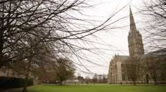 Salisbury Cathedral 26 close Stock Footage