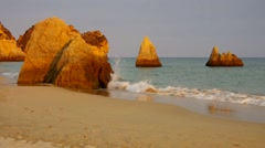 Algarve beach Dos Tres Irmaos Stock Footage