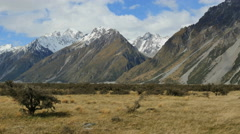 New Zealand Mt Cook National Park and steep slopes Stock Footage