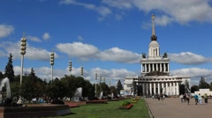 MOSCOW.RUSSIA-2013: VDNH. Main avenue and central pavilion _1 Stock Footage