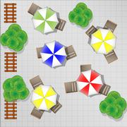 Illustration of square with chairs and parasols from above - stock illustration
