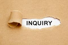 Inquiry Torn Paper Concept Stock Photos
