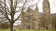 Salisbury Cathedral (front of the facade) - stock footage