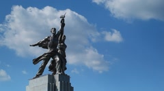 MOSCOW.RUSSIA-2013: VDNH. Worker and Kolkhoz Woman monument Stock Footage