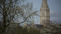 Salisbury Cathedral Close Up Stock Footage