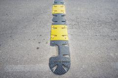 Top view of damaged band to reduce the speed - stock photo
